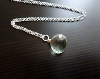 Quartz Necklace, Mint Green, Wire Wrapped, Sterling Silver