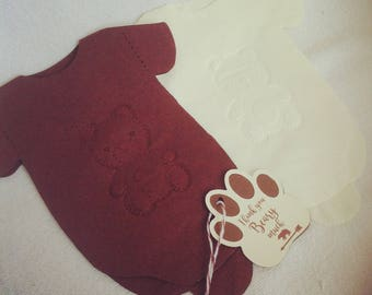 Personalized embossed Baby Shower  Napkins, Set of 20, Brown & ivory Onesie Napkins