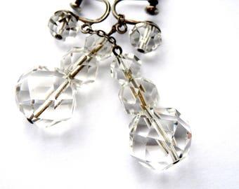 Crystal Bridal Earrings Sterling Silver Screwbacks Vintage Bride Genuine Crystals Bridal Jewelry 1950s Wedding Jewelry Drop Crystal Earrings