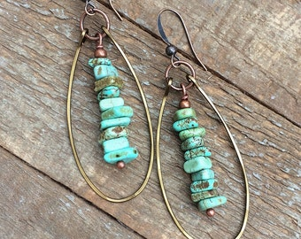 Turquoise earrings, hoop earrings, turquoise jewelry, tribal jewelry, dangle earrings, turquoise drop, bohemian earrings, bohemian jewelry