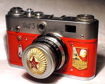 """USSR Vintage Red Star """"FED-3"""" camera Russian Leica -=Champion of Communistic Work=-"""