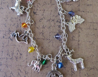 Noahs Ark Themed Silver Charm And Crystal Bracelet