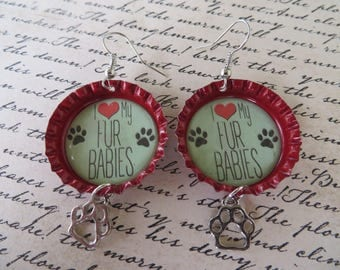 Fur Babies Bottle Cap Earrings