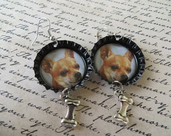 Chihuahua Bone Charm Bottle Cap Earrings