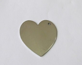 1 1/2 Heart Aluminum blanks -  20G - Heart blanks with hole - Hand stamping metal blanks -stamping blanks