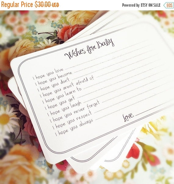 30% OFF Set of 75 Professionally Printed Wishes for Baby Cards - Unique Baby Shower Activity Game or Memory Book Idea