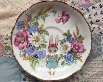 German Bunny with Bright Floral Illustrated Vintage Plate