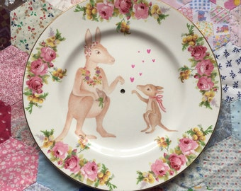 Mama Australian Kangaroo with Rose Floral Vintage Illustrated Plate
