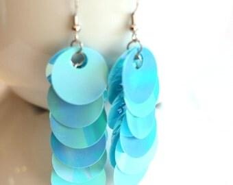 Blue Sequin Dangle Earrings - Handmade Chunky Fashion Jewelry - Long Earrings - Statement Jewelry