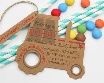 x10 Boys Farm Tractor Party Invitation Tags Personalised Farm Party