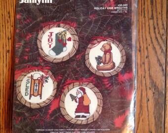Vintage Unused Janlynn Christmas Cross Stitch Holiday Vine Wreaths Set of 4
