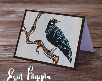 The Four ravens sly and cunning Art Pack Animals Wild Art cards pack of FOUR folk art animal art greeting card canadian wildlife