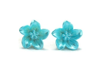 Aqua Lily Earrings - Light blue flower earrings - Retro Resin jewelry - Rockabilly, Pinup, Vintage Style