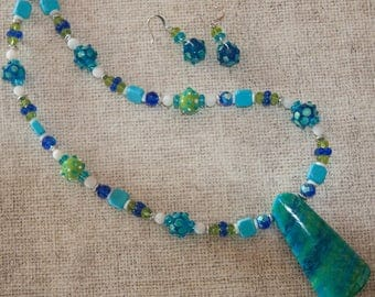 Ocean Breezes - Necklace, Earrings in cobalt blue, turquoise, and lime green