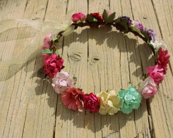 ANEMONE Crown - Halo Floral Crown , Flower head wreath Flower Crown, Aqua flower headband, festival crown happy halo Retro halo Flower halo