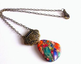 Rainbow Jasper Pyrite Pendant, Multicolor Stone, Stone Necklace, Sea Sediment Stone,