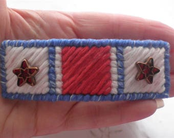 Star Barrette Hair Clip Red White Blue 4 of July Independence Day Patriotic Needlepoint Clips Hair Accessories