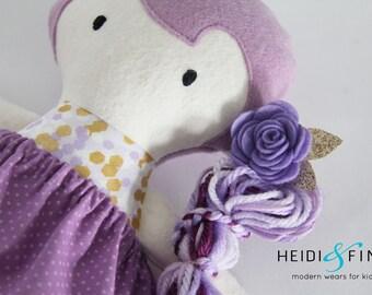 NEW Mini Pals soft rag doll keepsake gift OOAK ready to ship gold purple lavendar