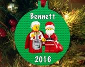 Personalized Christmas Ornament Lego Movie - Lego Santa & Mrs Claus