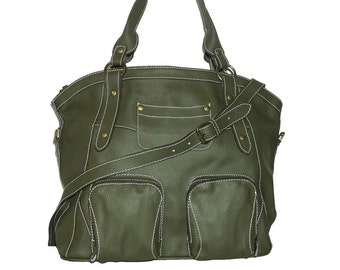 """Olive Green Leather Handbag Leather Tote Shoulder Cross-body Bag/ fits a 15"""" and 13"""" laptop Magui L // SALE"""