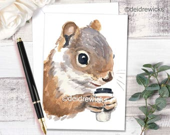 Blank Greeting Card - Squirrel Watercolor, 5x7 Card, Stationary, Coffee Squirrel, All Purpose Card