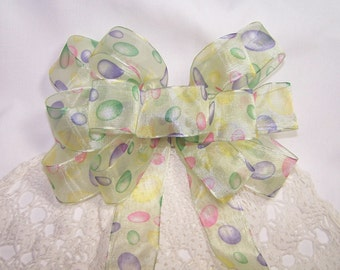Yellow Sheer Easter Egg Handmade Bow Gift Spring Wreath Holiday Decoration Bow Bunny Bow Easter Basket Bow
