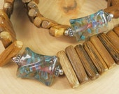 RESERVED Wood Bead Necklace featuring Handmade Borosilicate Glass Beads and Silver Toggle Clasp