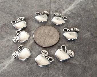 25 - Silver Apple Charms or Pendants, Teacher Pendant, Apple necklace, Bangle Bracelet, Charm Bracelet