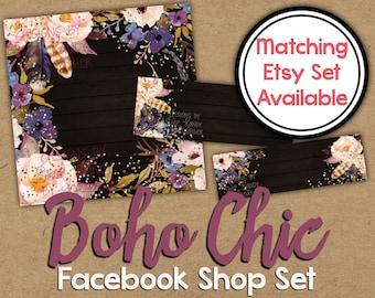 Boho Chic Facebook Shop Set - DIY Facebook Timeline - Watercolor Timeline Cover - Boho Facebook Shop Banner - Feather Facebook Shop Graphics