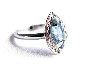 Vintage White 12K Gold Filled Blue Aquamarine Birthstone Ring - Silver Filigree - March Birthstone - Size 7 - Petite Ring