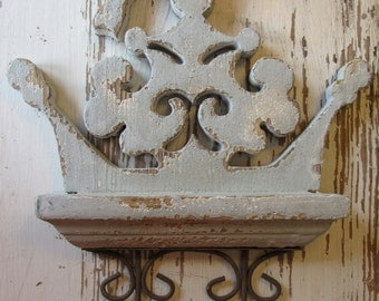 Pale Blue Carved Wood Bird Wall Hook Distressed Aged Wood Farmhouse Cottage Style Carving 2 Two Hooks For Wall H-9
