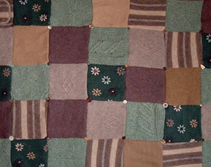 "My ""Laughing Heather"" Wool Sweater Quilt — I can make one similar for you!"