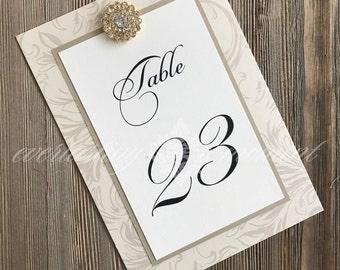 Vintage Rhinestone Table Numbers, Wedding, elegant, handmade, ivory, gold, taupe