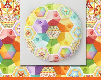 Rainbow Circus Hexagons PRINTED pattern floor meditation pillow round square 26 or 30 inch bright watercolour design by artist Patricia Shea