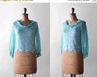 25% OFF 60 sequin top. s. 1960's green blouse. beaded. chiffon. aqua. 60's scalloped blouse. blue