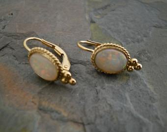 Opal Earrings, Opal Drop Earrings, Vintage Opals, OOAK, 14 Kt, White Opal Earrings, Large Opal Earrings, Opal Dangle Drops, Opal Dangle