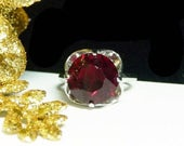 Ruby Sterling Silver Ring - Vintage Solitaire Modern Ring