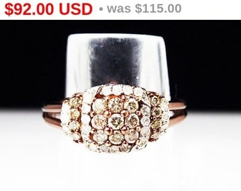 Champagne & White Diamond Ring Signed 925 UD - Rose Gold Plated over Sterling Silver - Square Design