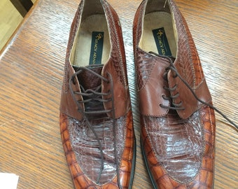 Men's Snazzy Shoes Genuine Snake and Leather Oxfords Stacey Adams Shoes For Steppin Out in Style 12 W Men's Dressy Shoes