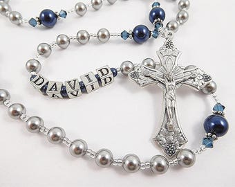 Personalized Rosary in Gray and Navy Blue - Swarovski Pearls - Baptism, First Communion Confirmation Gift for a Boy