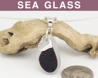 Plum English Sea Glass Multi with Heart Charm