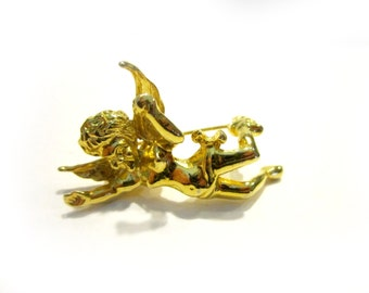 """Vintage Angel Brooch Gold 1 1/2"""" Pin Jewelry Gift for Her Gift Idea Holiday Gift Christmas Stocking Stuffer Under 10"""