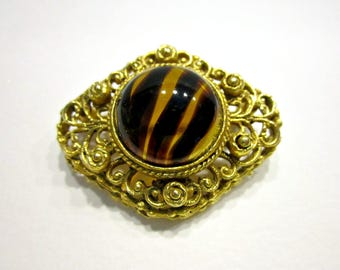 Vintage Tiger Striped Glass Brooch Gold Framed Pin Gift Idea for Her for Mom Under 20 Jewelry