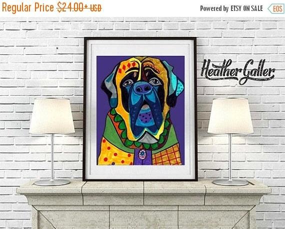 60% Off Today- Mastiff Art -  Dog Art Modern  Art Print Poster by Heather Galler (HG611)