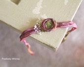 RTS Newborn Tieback, Newborn Headband, Dried Flower, Baby Girl Tieback, Sari Satin Ribbon, Multicolored Purple Gold Mustard Green Rose