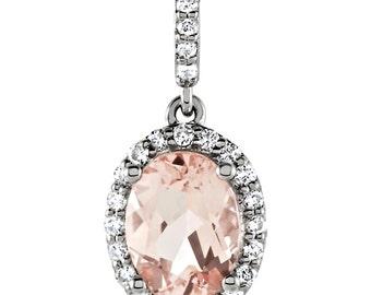 14K White Gold Genuine Morganite and 1/6 ctw White Diamond Halo Drop Pendant, Natural Morganite, Diamond Pendant, Gift for Her, Bridal Party