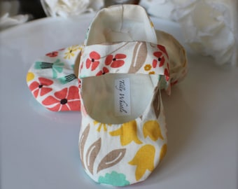 Baby Girl Shoes, Pink, Coral, Yellow Floral, Soft Sole Baby Booties - Toddler Girl