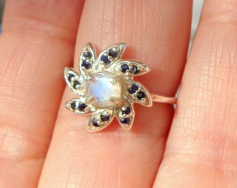 Rainbow Moonstone Ring, 925 Sterling Silver Ring, Blue Sapphire Accents, Edwardian Fantasy, Victorian Style, Genuine Gemstone Ring, OOAK