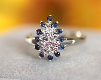 OOAK Diamonds and blue sapphire vintage ring, Estate piece, pear shaped engagement ring