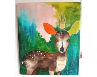 Original deer painting whimsical boho mixed media art on wood panel 20x24 inches - Something is waking in me